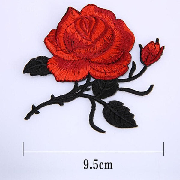 1 Pcs Iron On  Rose Flower With Leaves