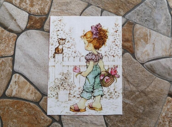 "Cotton Hand Dyed Fabric 6"" x 7"" America Little Girl"