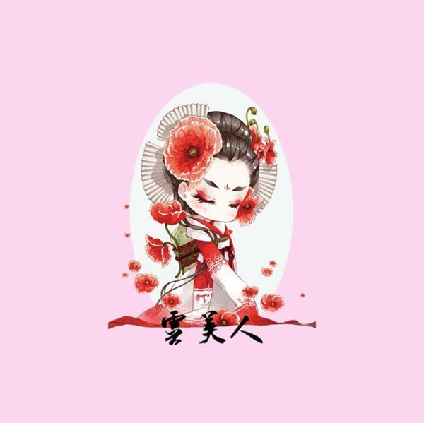 "Cotton Fabric (7""x7"") Flower Girl Japanese Style"