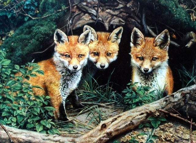 Diamond Painting Animal Fox Family