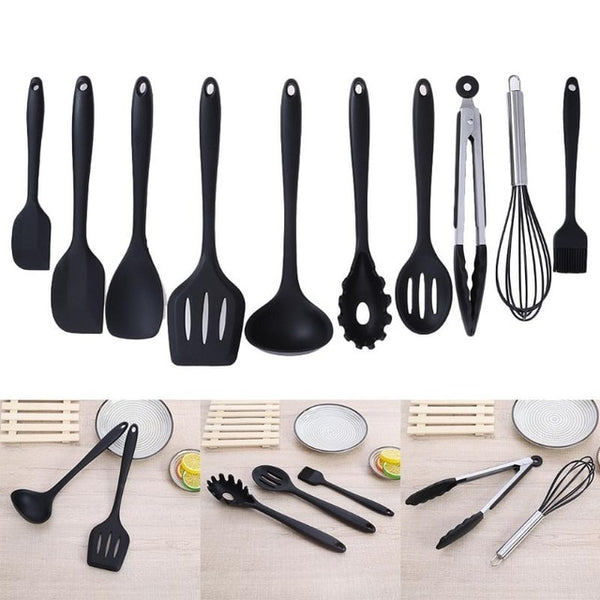 10Pcs/set Non-stick Cooking Cookware Set Silicone