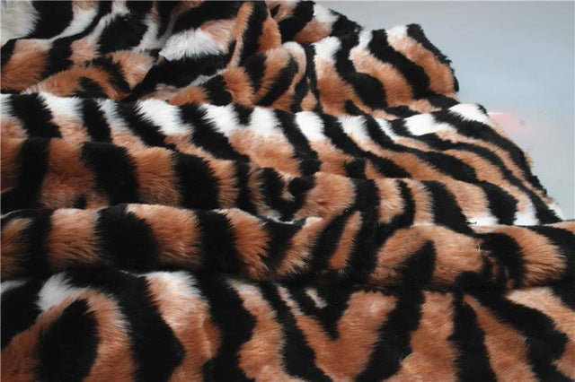 Leopard Tiger Stripes Plush Faux Fur Fabric