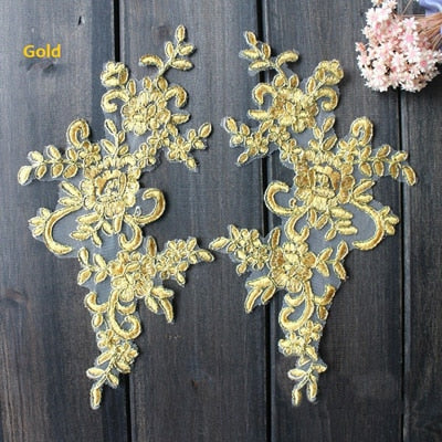 "4PC 10"" x 5"" 16 Colors Wedding Dresses Lace Applique"