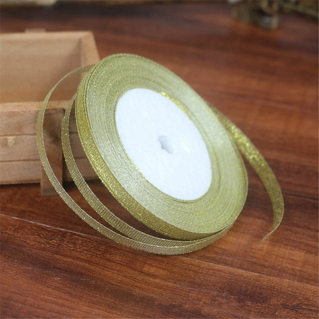 25 Yards Silver/Gold Silk Satin Ribbon
