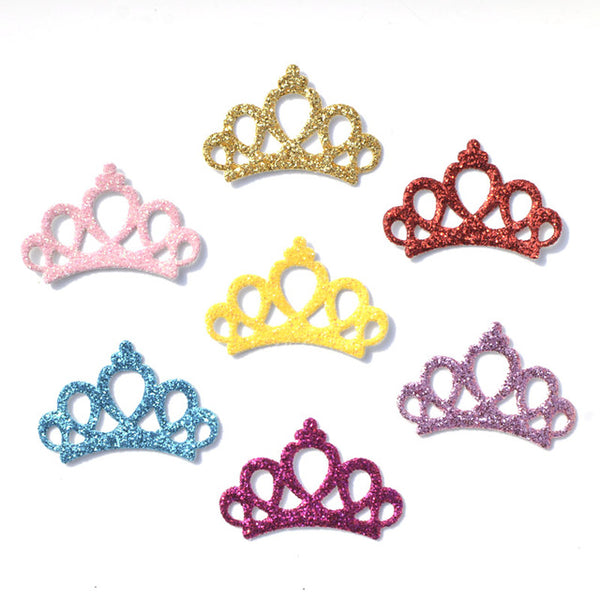40Pcs Mixed Glitter Leather Fabric Patches Crown Design