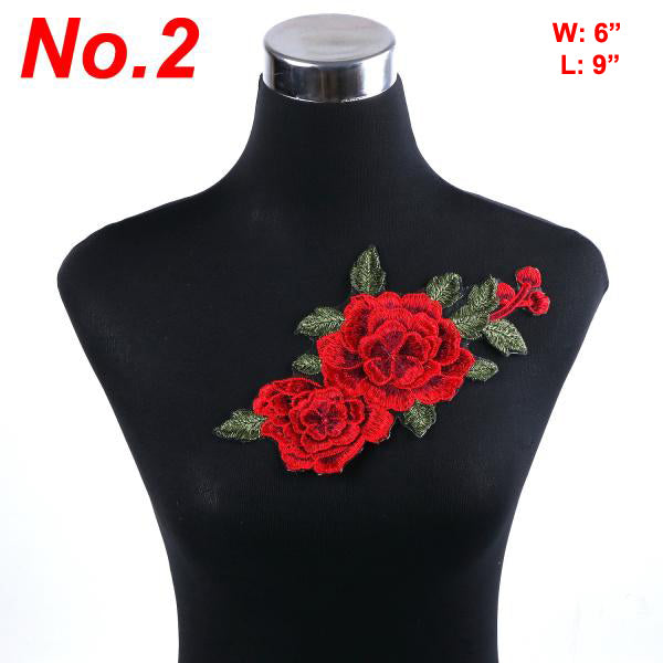 1pc Flowers Embroidered Patch Iron On Red Rose