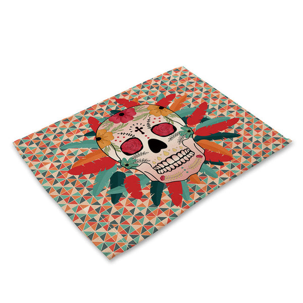 Table Mat Placemat Horror Skull Pattern