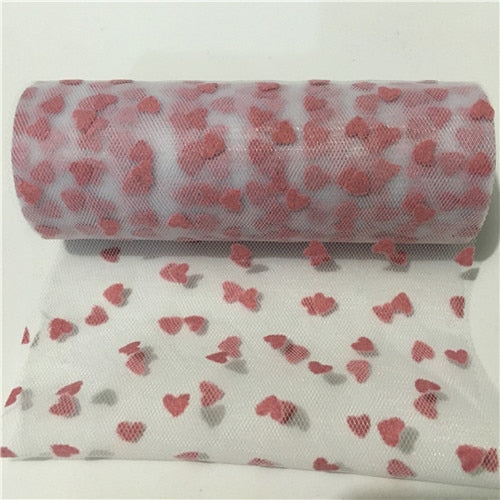 6 inches 10Yards Sparkly Glitter Heart Tulle Mesh Roll