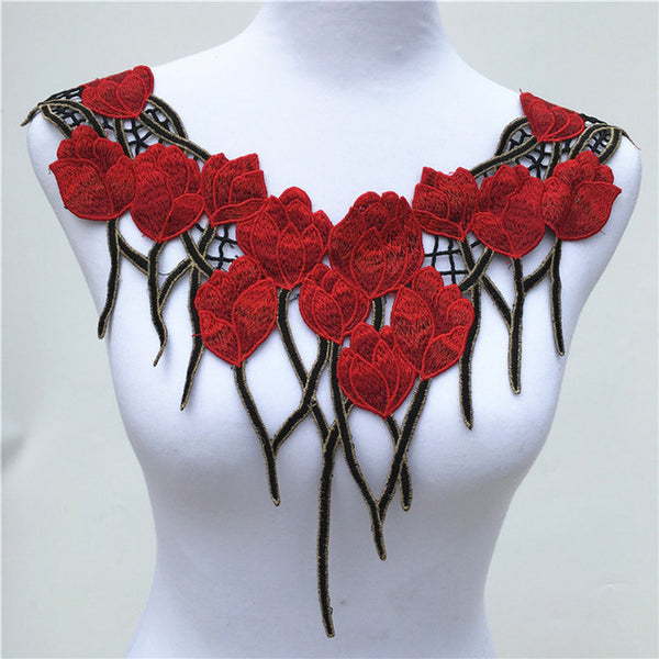 Red Venise Lace Applique