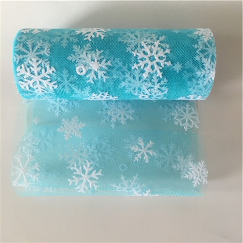 10Y 6inches Wedding Snowflake Tulle Roll