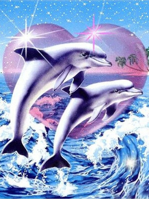 "100% Full 5D Daimond Painting ""Dolphin Couple"""