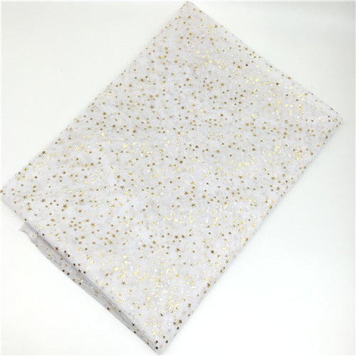 "Spandex / Polyester Fabric (59""x39"") Bling Stars Bronzed Tulle Rol"