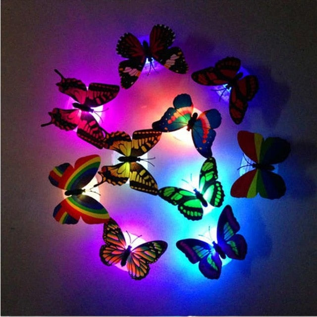 Wall Decor Colorful Changing Butterfly LED Night Light Lamp
