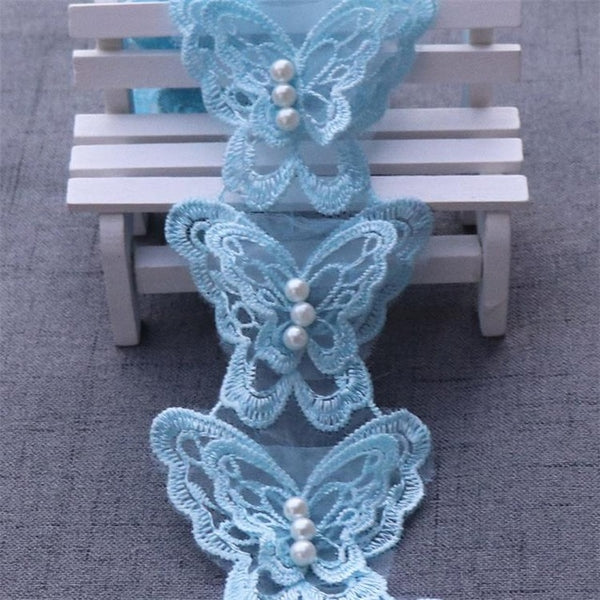 1yard Butterfly Flower Soluble Organza Lace