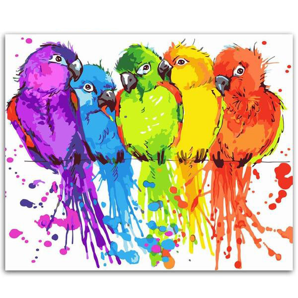 Painting By Number Colorful Parrots Animals