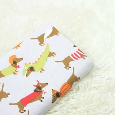 Cotton Thin Canvas Fabric (half meter) Cartoon dog cat print