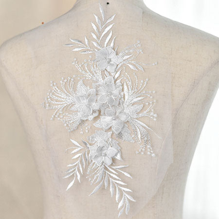 3D Beaded Lace Applique Embroidered Flower Fabric