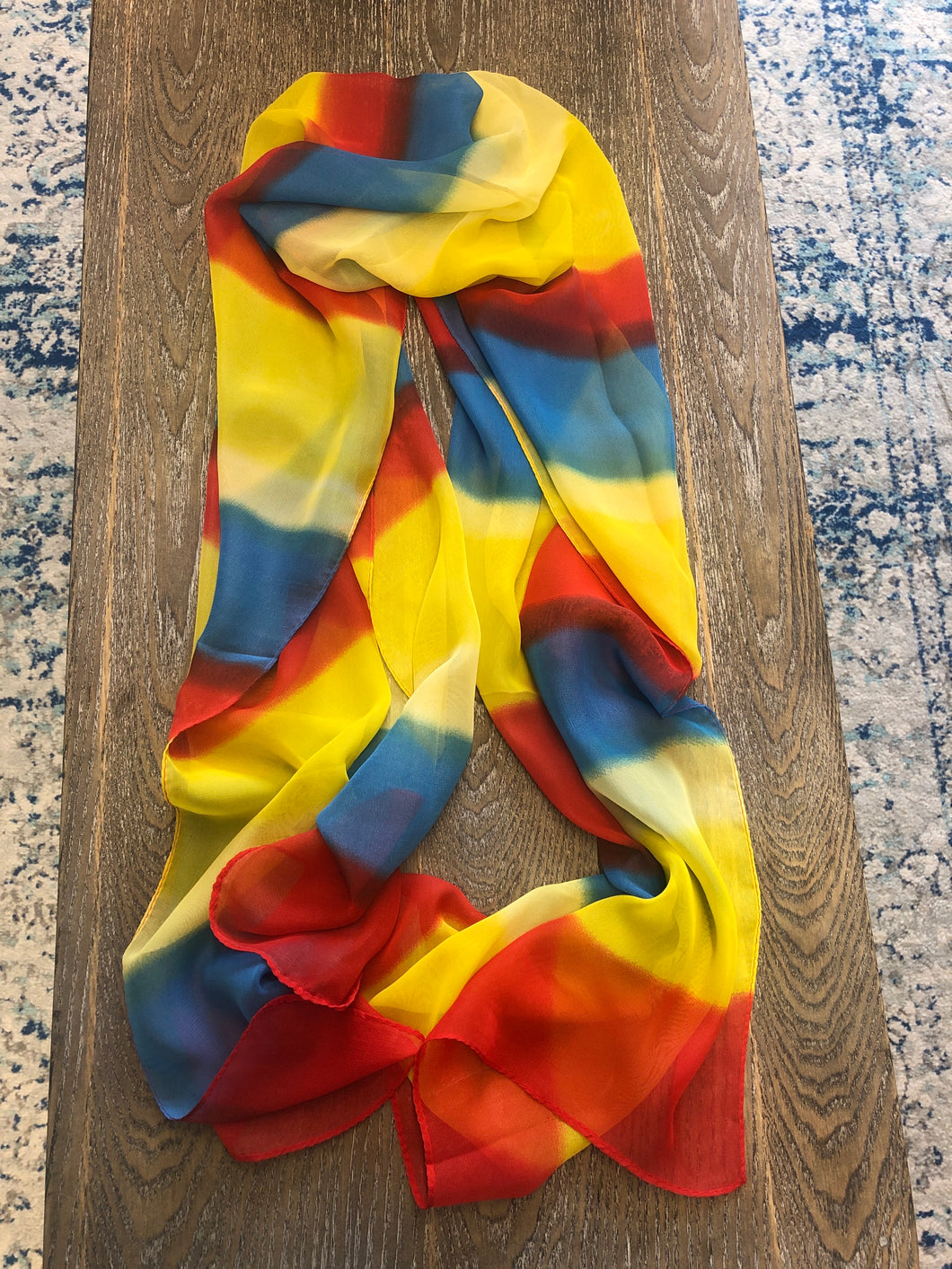 Scarf red yellow blue