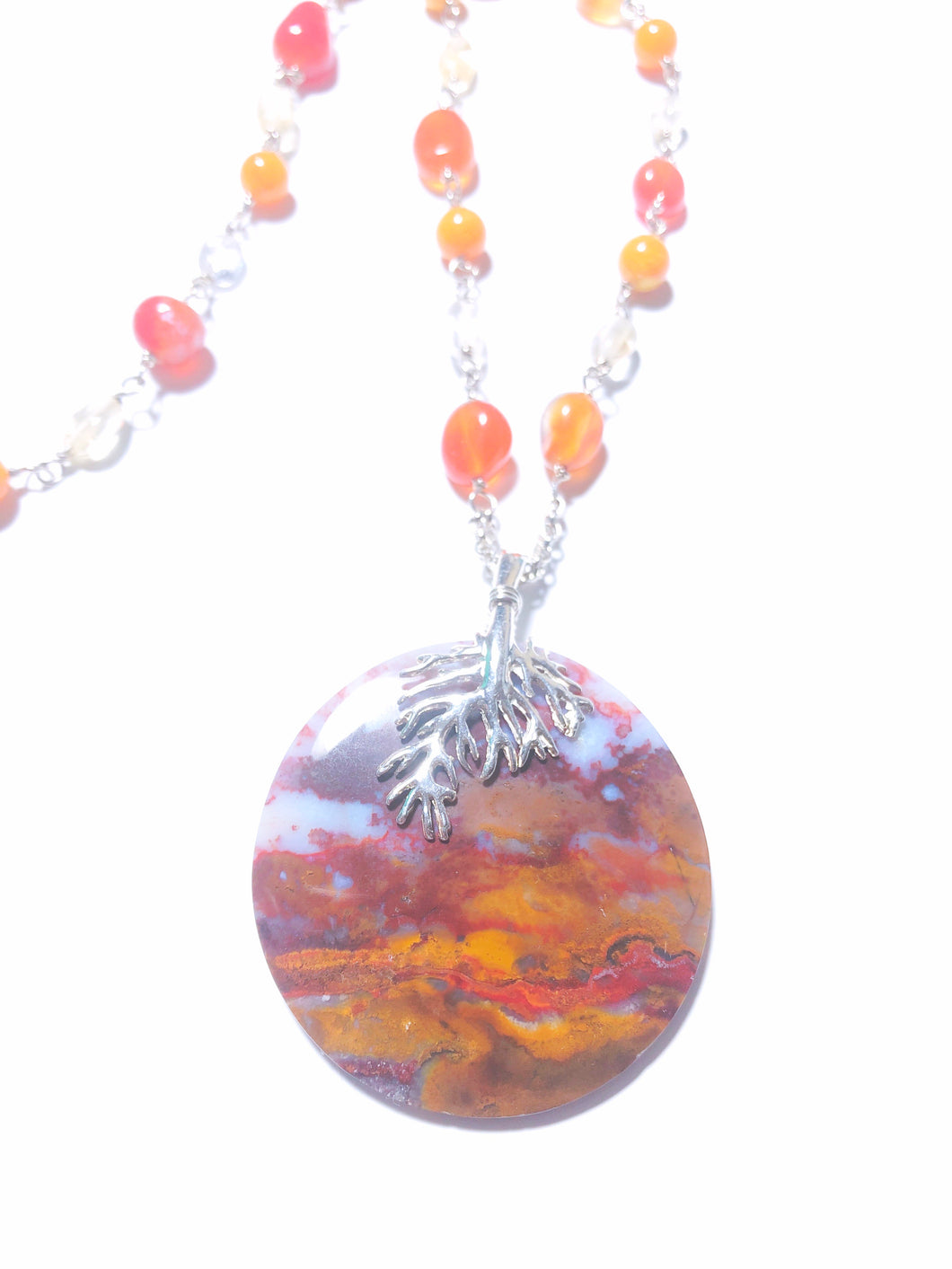 Necklace with red root Agate, carnelian and Baltic Amber