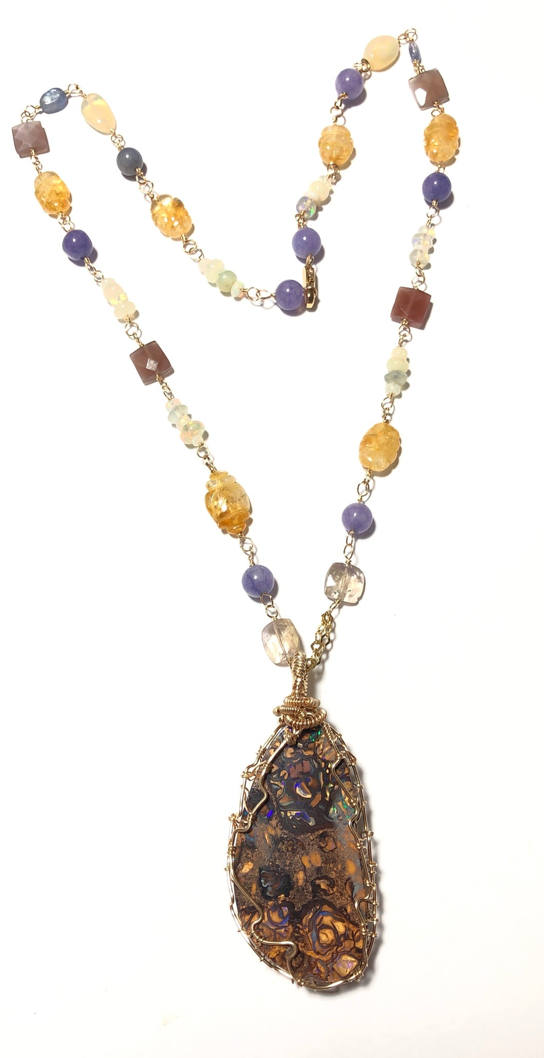 Necklace with Koroit opal, citrine, tanzanite and Ethiopian Opal beads