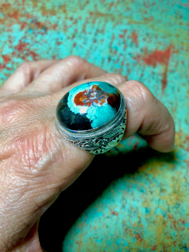 Sterling silver ring with Pancawarna Agate