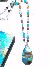 Necklace with Agate, Apatite, Aquamarine, citrine and yellow carnelian beads