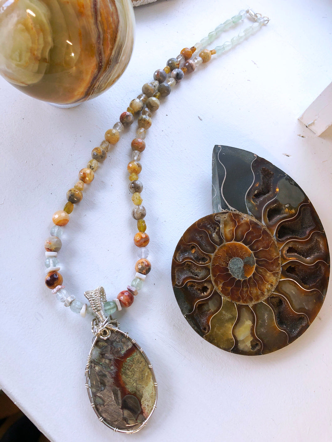 Necklace with mushroom jasper, picture jasper, Rutilated quartz, fluorite beads and jade.