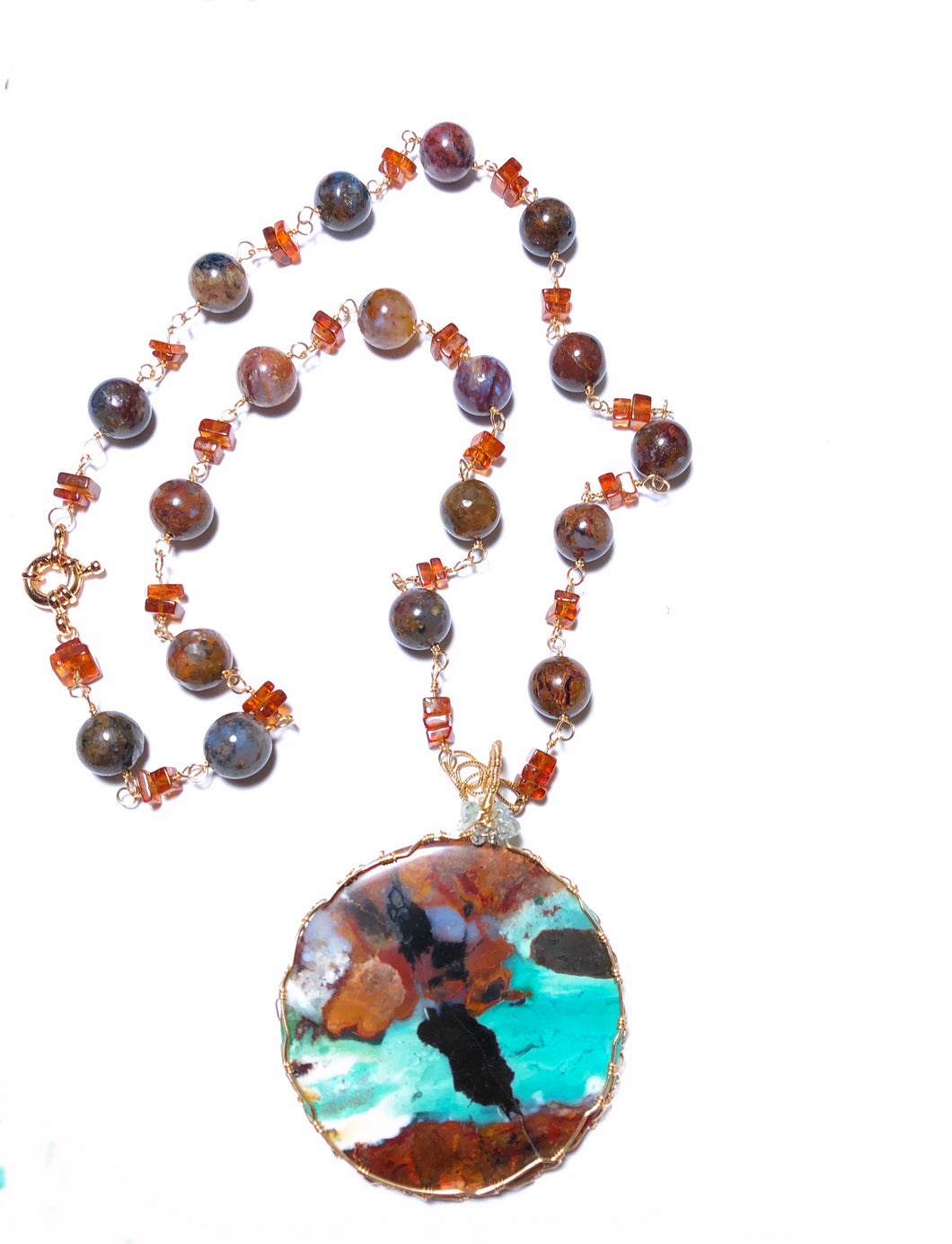 Necklace with huge round pancawarna agate