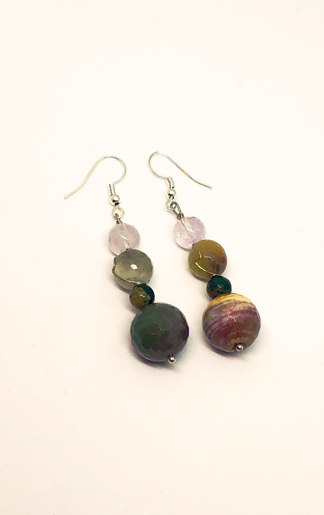 Earrings with  Ocean jasper, Amethyst and Jade beads