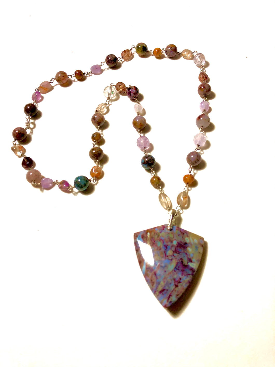 Necklace with red root Agate
