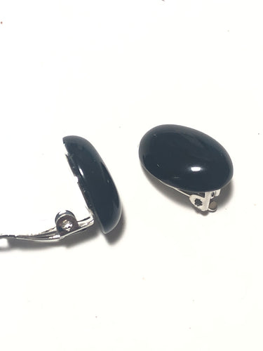 Clip earrings with black agate