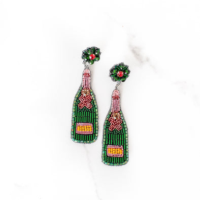 Hand-Beaded Champagne Bottle Earrings