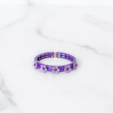 Purple Daisy Tile Bracelet