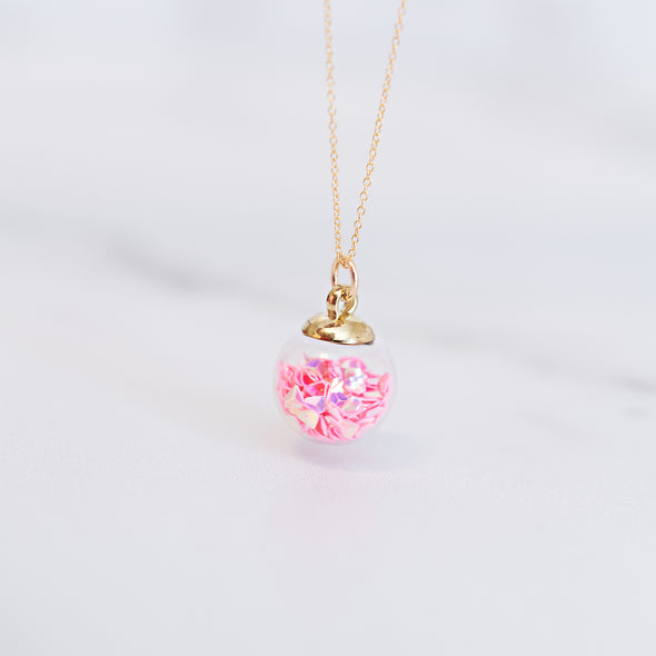 Pink Heart Confetti Charm Necklace