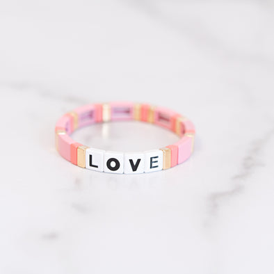 All-Pink LOVE Tile Bracelet