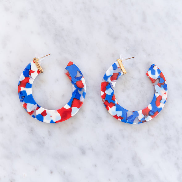 Red, White & Blue Acrylic Hoops