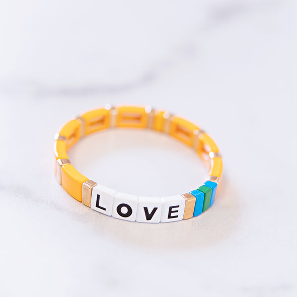 Orange Love Tile Bracelet