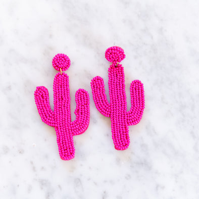 Pink Beaded Cactus Earrings