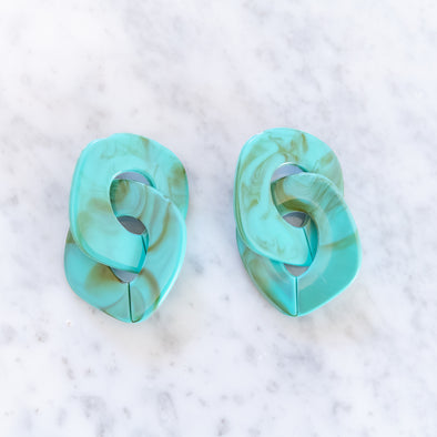 Turquoise Acrylic Drop Earrings