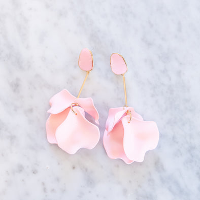 Light Pink Flower Drop Earrings