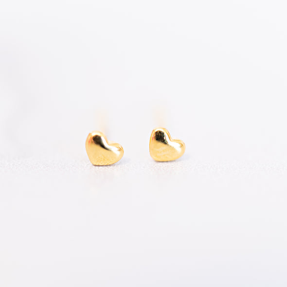 Mini Gold Heart Stud Earrings