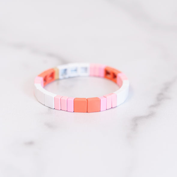 Pink Color Block Tile Bracelet
