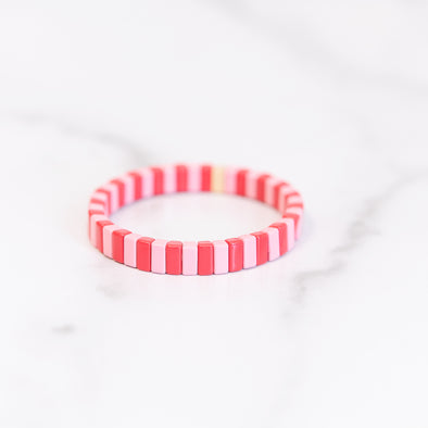 XOXO Pink and Red Tile Bracelet