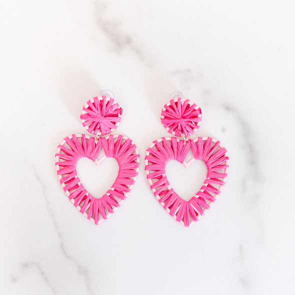 Hot Pink Raffia Heart Earrings