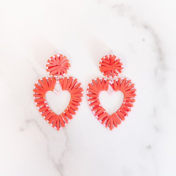 Red Raffia Heart Earrings