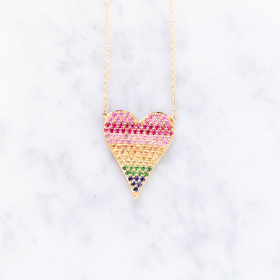Ombre Rainbow Diamond & Sapphire Heart Necklace