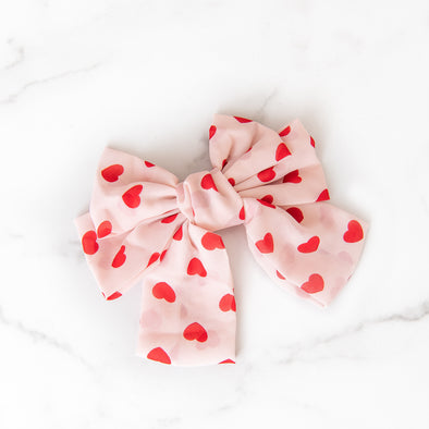 Pink + Red Hearts Bow