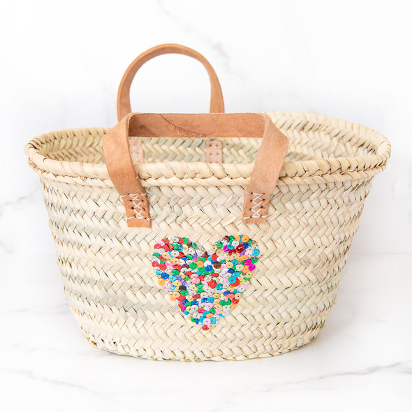 Rainbow Sequin Heart Beach Bag | Mini