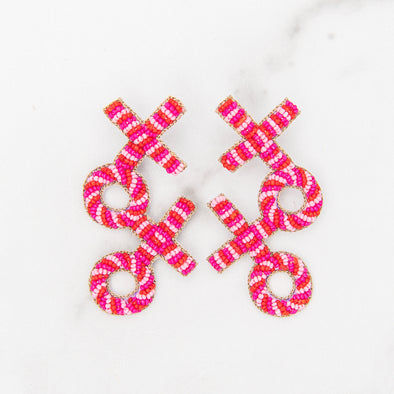Hand-Beaded XOXO Earrings
