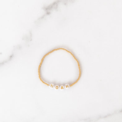 Personalized 1 mm Gold Beaded Letter Bracelet